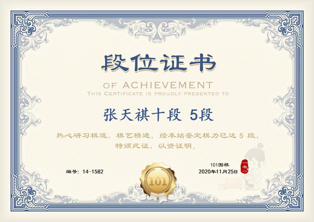 张天祺十段101围棋最好成绩